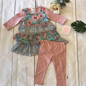 Bonnie Baby Girls Pink Floral Spring Outfit 24 Mo